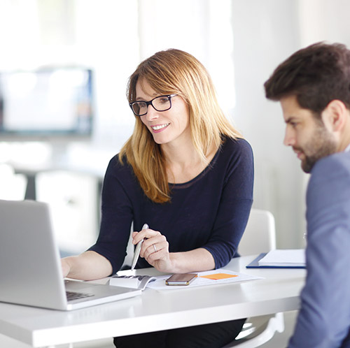 Portrait of investment advisor businesswoman sitting at office in front of computer and consulting with young professional man.